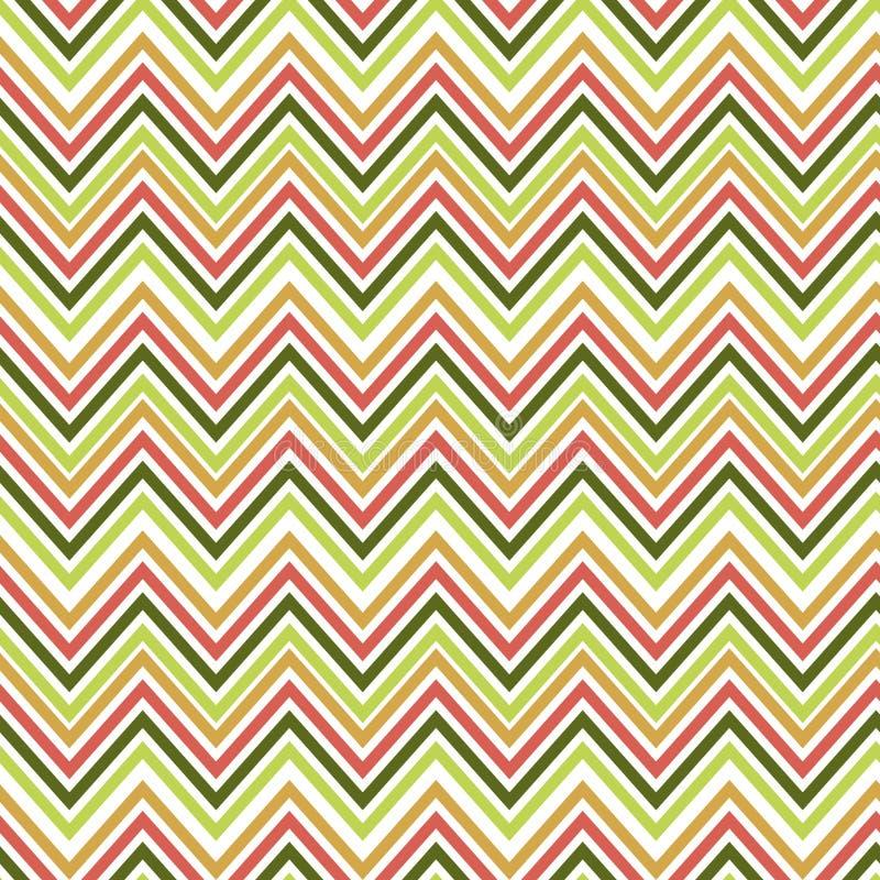 Nahtloses grünes und orange Zickzackmuster Vektor erläuterter Retro- Hintergrund Verwerfende Papierbeschaffenheit lizenzfreie abbildung