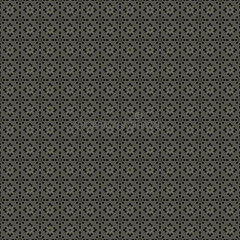 Nahtloses Grau u. schwarzes Damast-Muster lizenzfreie abbildung