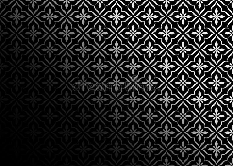 Nahtloses Gray Vintage Ornament im Gradating Black Background vektor abbildung