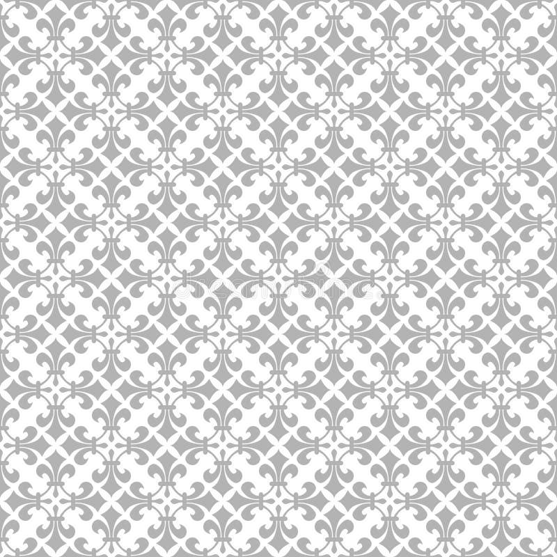 Nahtloses Gray Vintage Ornament im weißen Hintergrund vektor abbildung