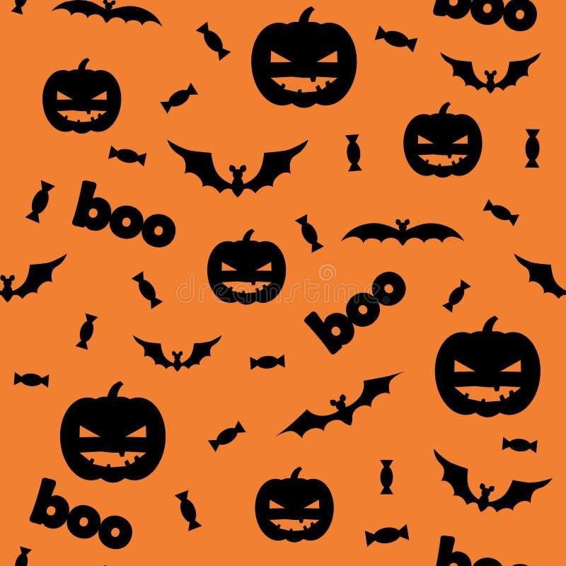 Nahtloses Halloween-Muster mit Kürbisen, Süßigkeit und Schlägern auf orange Hintergrund stock abbildung
