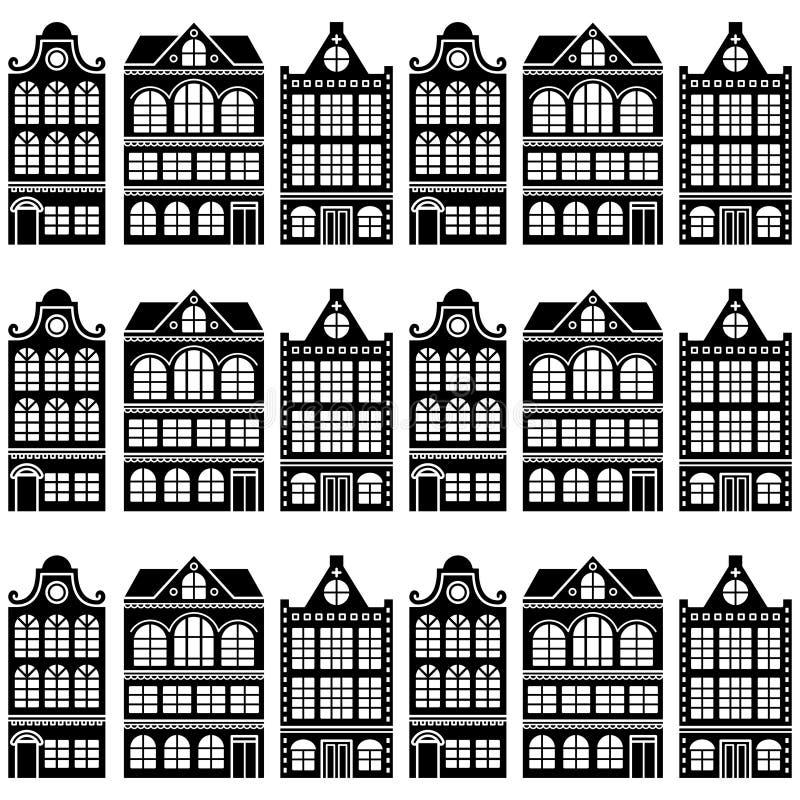 Nahtloses Hausmuster - Holländer, Amsterdam-Häuser, Retrostil stock abbildung