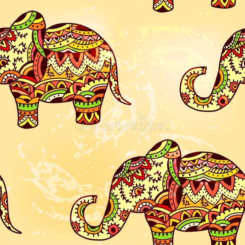 Nahtloses helles ethnisches Muster mit Elefanten stock abbildung