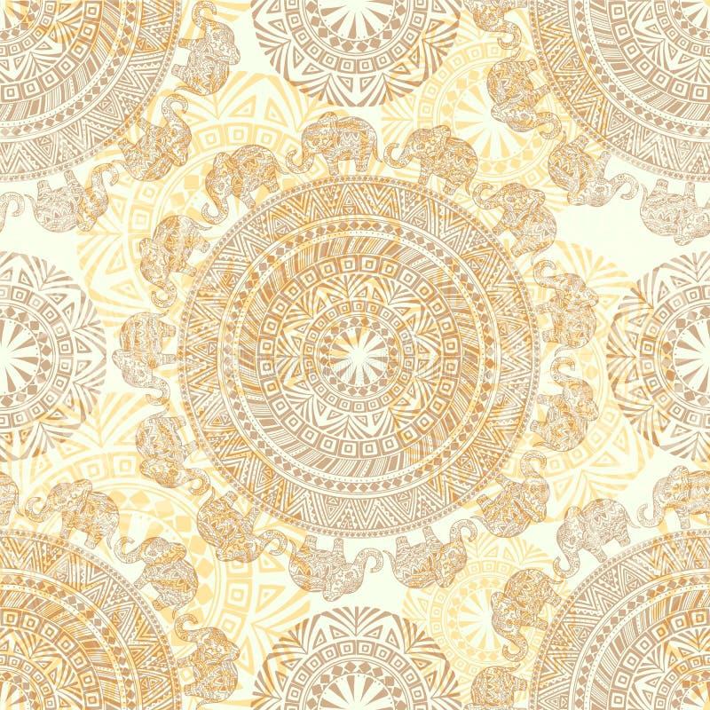 Nahtloses helles Muster mit ethnischen Elementen und Elefanten vektor abbildung