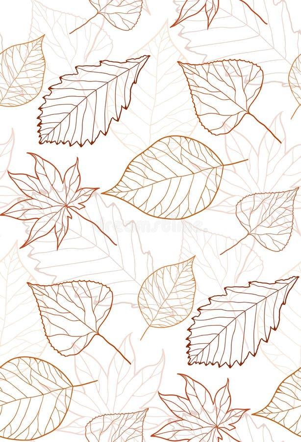Nahtloses Herbstmuster mit farbigen Blattkonturen stock abbildung