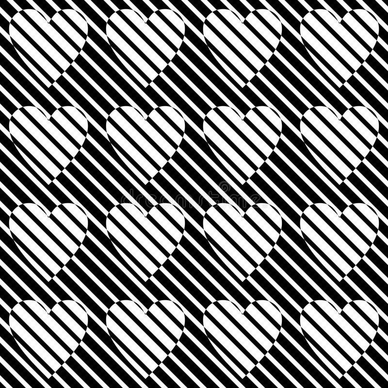 Nahtloses Herzmuster des Vektors Schwarzweiss Abstrakte Hintergrund Tapete Auch im corel abgehobenen Betrag stock abbildung
