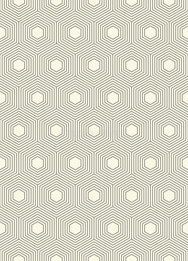 Nahtloses Hexagonmuster Abstrakte Linie Packpapier-Grafik D stock abbildung