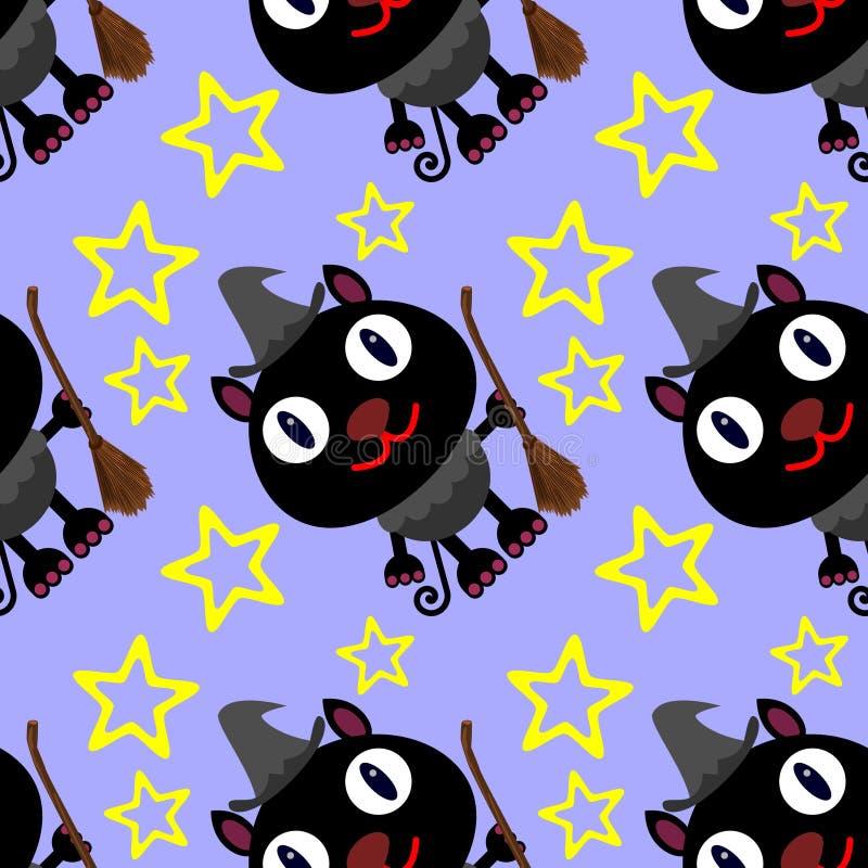 Nahtloses Hintergrunddesign der Katzenhexe vektor abbildung