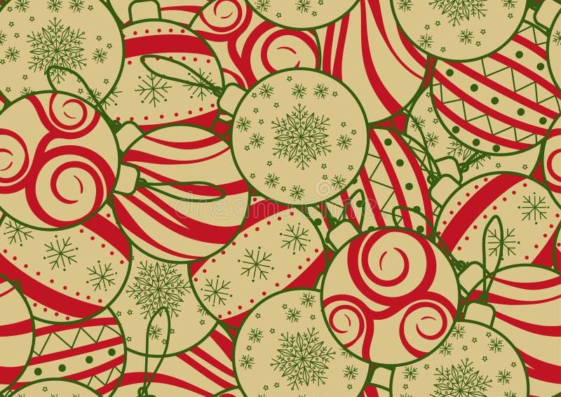Nahtloses Hintergrunddesign für Weihnachten, neues Jahr oder Partei in der einfachen flachen Art Bunte Weihnachtsverzierung geleg lizenzfreie abbildung