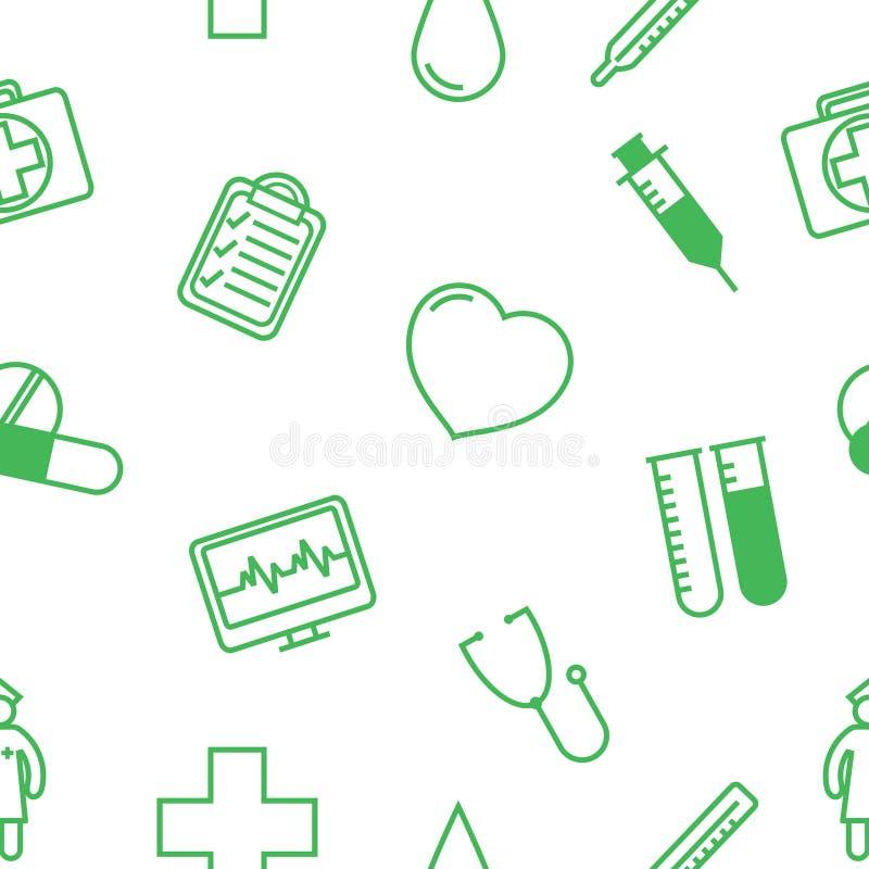 Nahtloses Hintergrundmuster der medizinischen Ikonen vektor abbildung