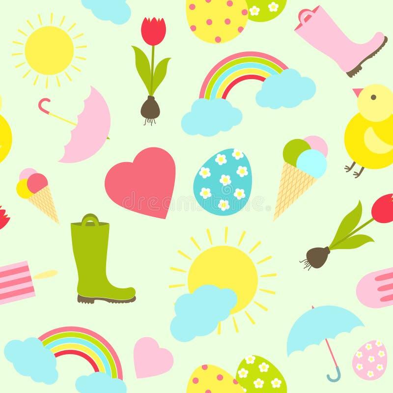 Nahtloses Hintergrundmuster des bunten neuen Frühlinges stock abbildung