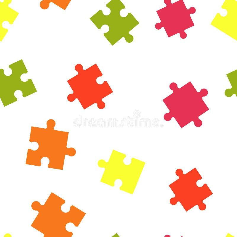 Nahtloses Hintergrundmuster des bunten Puzzlespiels Vektorabbildung getrennt auf weißem Hintergrund lizenzfreie abbildung