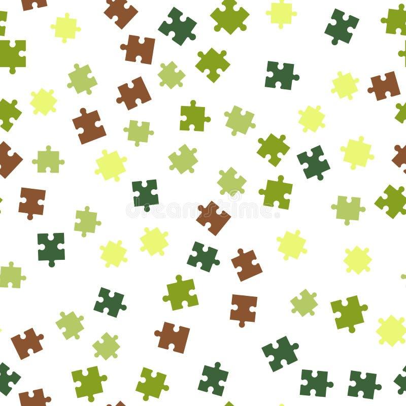 Nahtloses Hintergrundmuster des bunten Puzzlespiels Vektorabbildung getrennt auf weißem Hintergrund stock abbildung