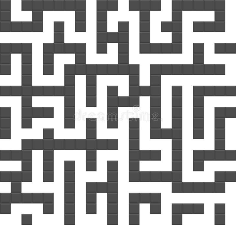 Nahtloses Hintergrundmuster des endlosen Labyrinths stock abbildung