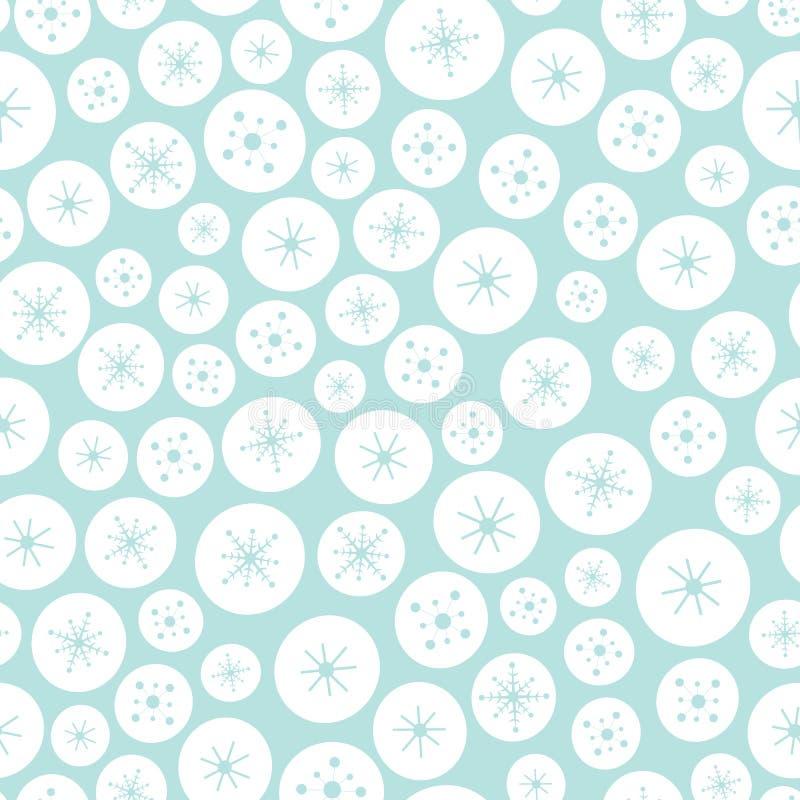 Nahtloses Hintergrundmuster des Vektors von weißen und blauen Weihnachtskreisen und -sternen Ein Oberflächenmusterentwurfshinterg vektor abbildung