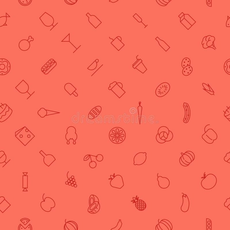 Nahtloses Hintergrundmuster für Lebensmittel und Getränke lizenzfreie abbildung