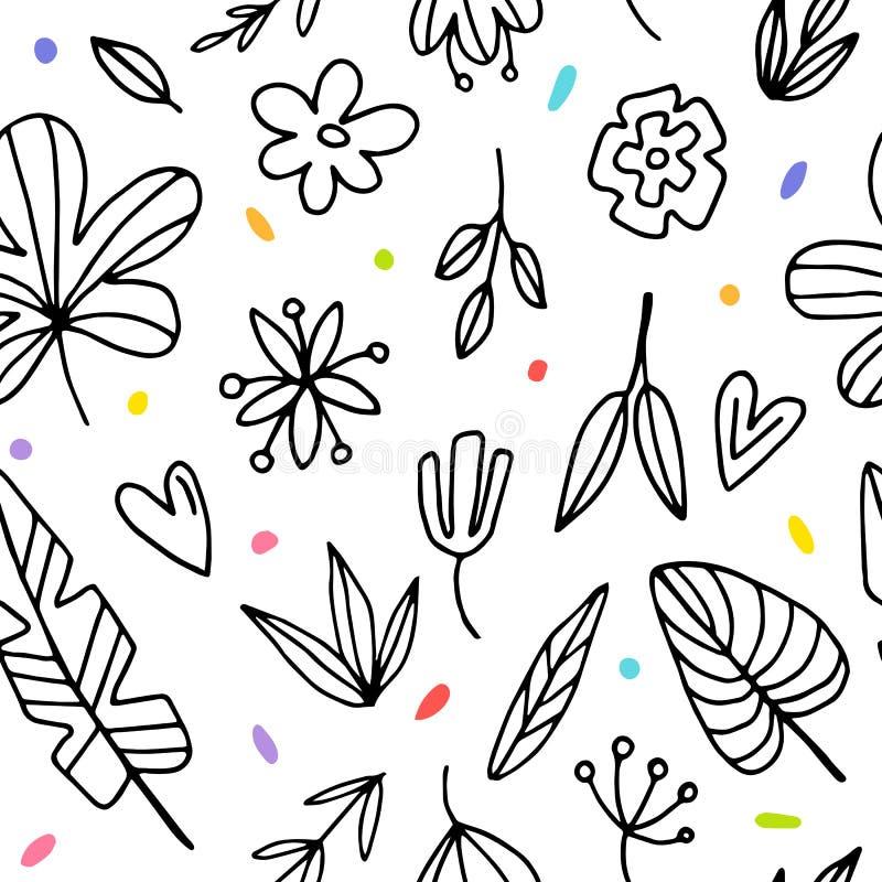 Nahtloses Hintergrundmuster mit grafischem Blumen lizenzfreie abbildung