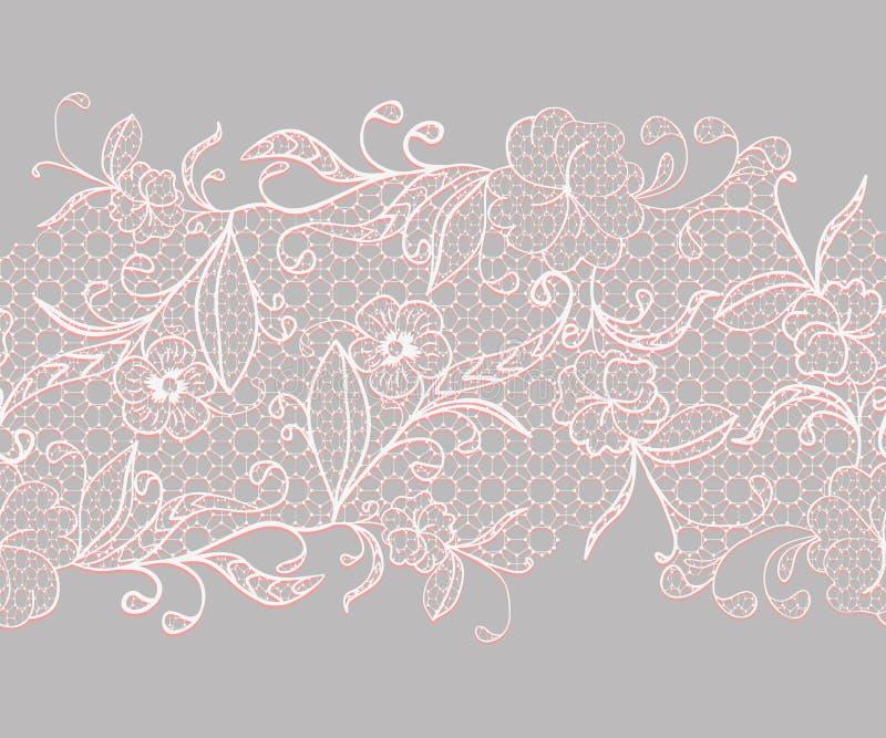 Nahtloses Horizontales Band Der Spitzes Weiß Mit Rosa Blumen Auf ...