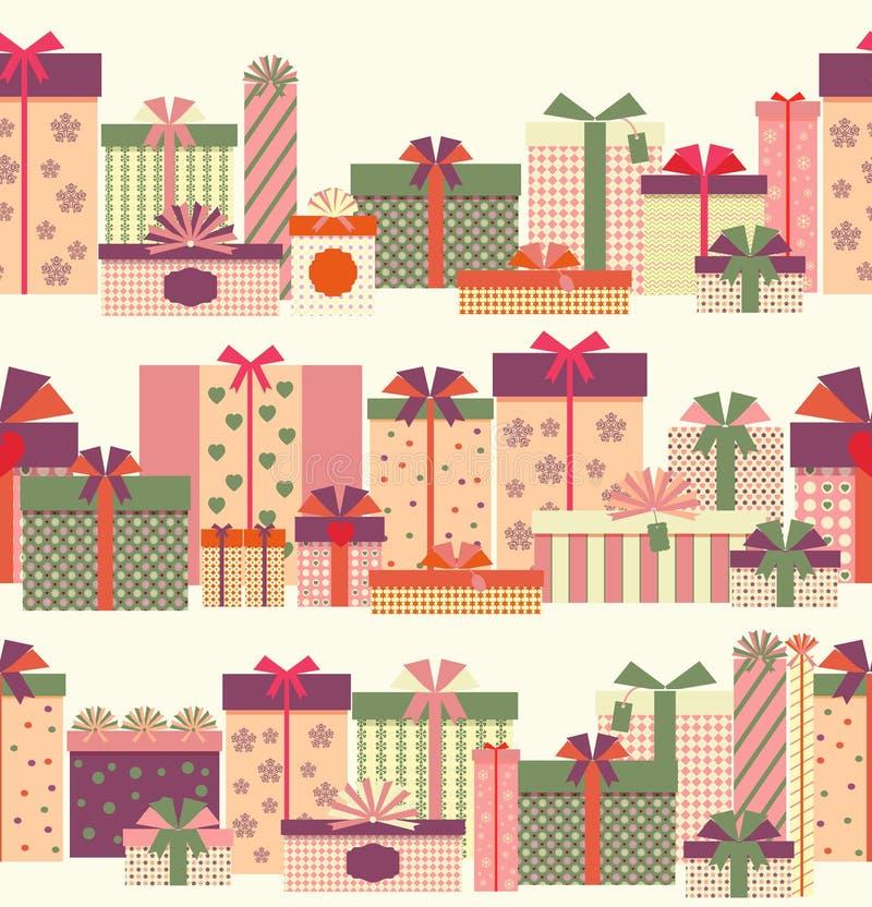 Nahtloses horizontales Muster der Geschenkboxen Grenz vektor abbildung