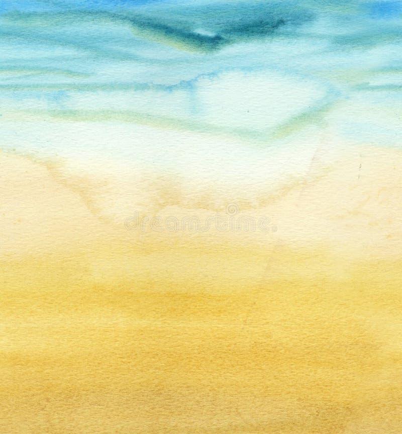 Nahtloses horizontales Muster von Aquarellsteigungsmeer und -sand lizenzfreie abbildung