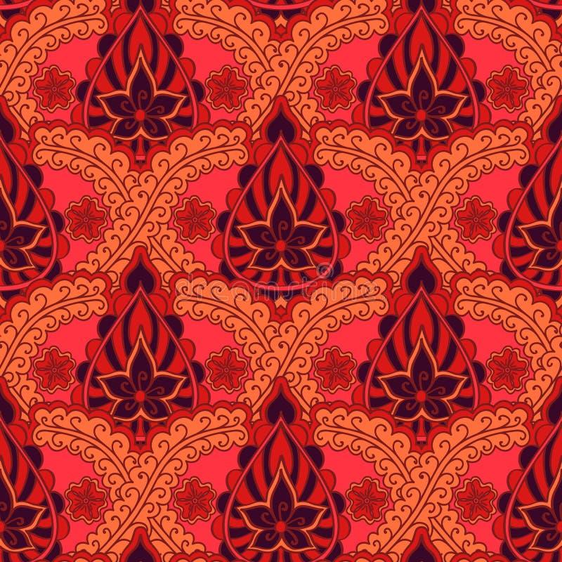 Nahtloses indisches Muster Heller wiederholender Hintergrund im Stil der indischen Gewebe stock abbildung