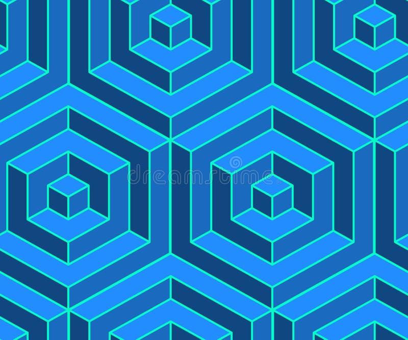 Nahtloses isometrisches Muster Volumetrischer geometrischer Hintergrund Blaue optische Täuschung stock abbildung