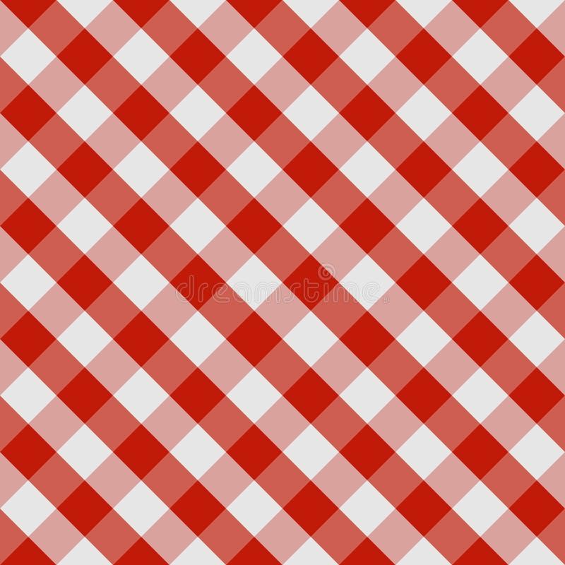 Nahtloses kariertes Muster der Picknicktischdecke in den roten und weißen Tönen Regenbogen und Wolke auf dem blauen Himmel lizenzfreie abbildung