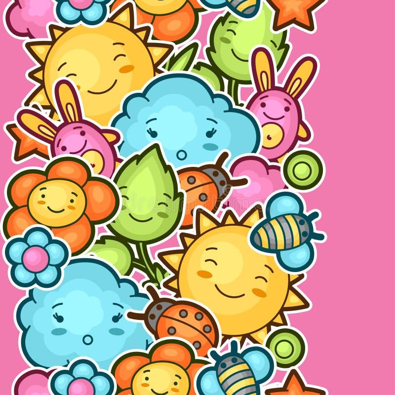 Nahtloses kawaii Kindermuster mit netten Gekritzeln Frühjahrskollektion nette Zeichentrickfilm-Figuren Sonne, Wolke, Blume vektor abbildung
