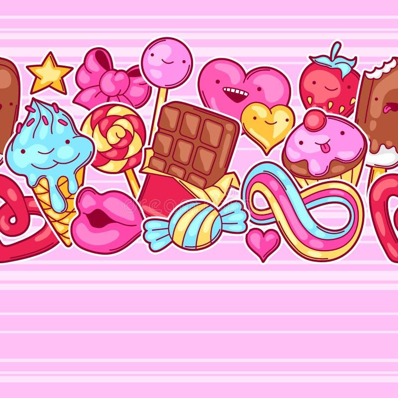 Nahtloses kawaii Muster mit Bonbons und Süßigkeiten Verrücktes Süßmaterial in der Karikaturart lizenzfreie abbildung