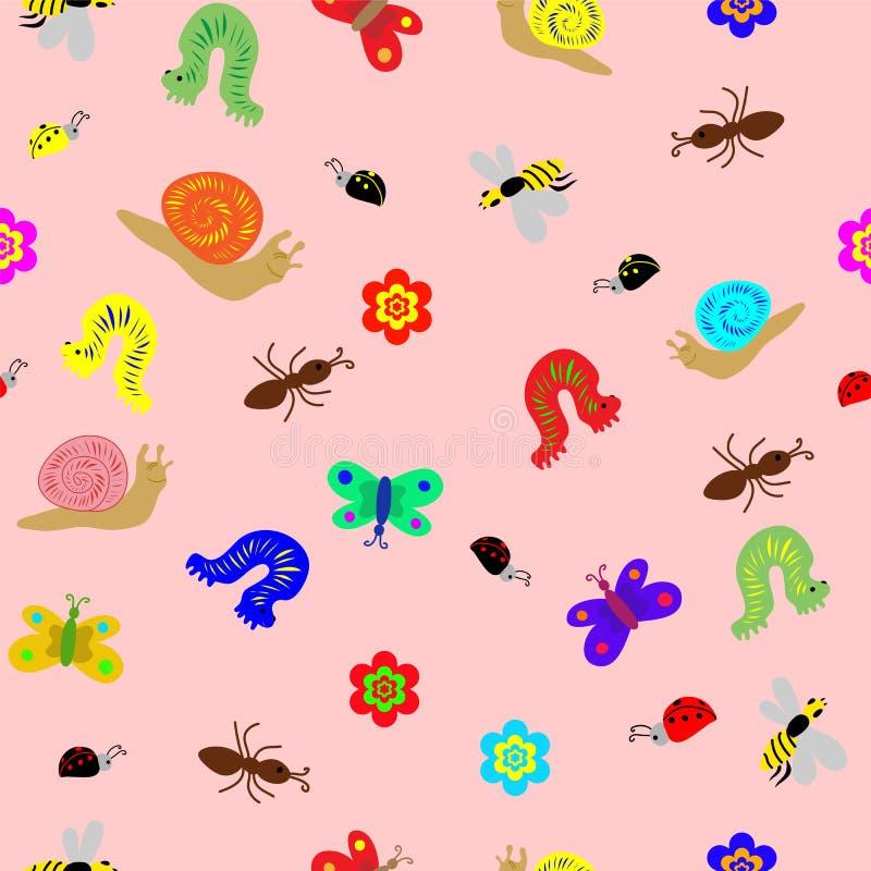 Nahtloses Kinderzeichnungs-Muster Lustige Gekritzelinsekten, -schnecken und -gleiskettenfahrzeug Vervollkommnen Sie Design für Ki lizenzfreie abbildung