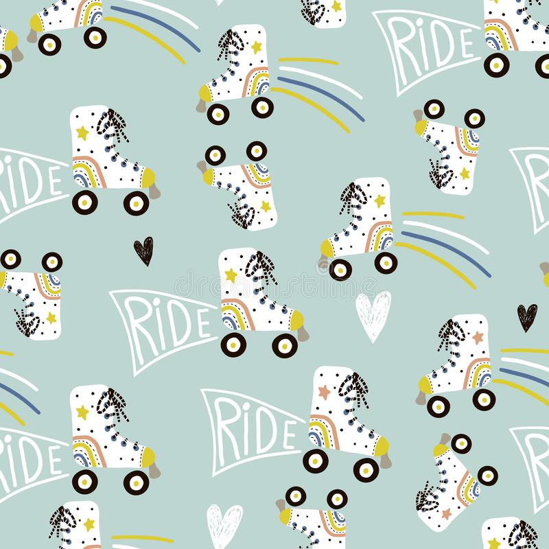 Nahtloses kindisches Muster mit bunten Rollschuhen Kreative skandinavische Artkinderbeschaffenheit für Gewebe, wickelnd, Gewebe e lizenzfreies stockbild