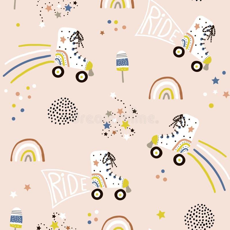 Nahtloses kindisches Muster mit bunten Rollschuhen Kreative skandinavische Artkinderbeschaffenheit für Gewebe, wickelnd, Gewebe e stockbilder