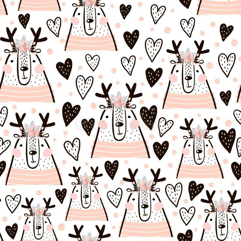 Nahtloses kindisches Muster mit dem netten Mädchen lieb, Herzen Kreative Kinderbeschaffenheit für Gewebe, wickelnd, Gewebe, Tapet vektor abbildung