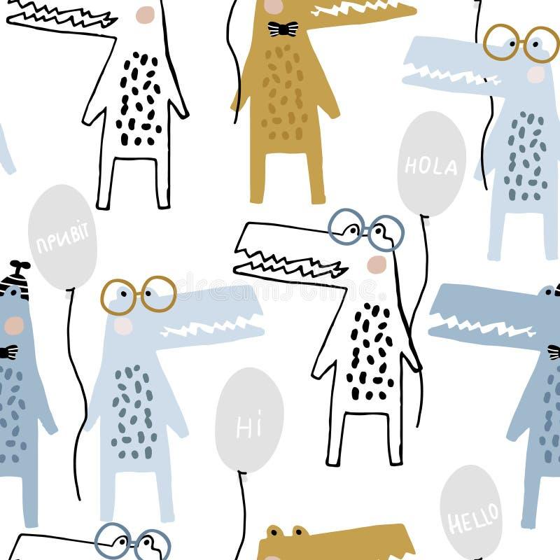 Nahtloses kindisches Muster mit lustige Handgezogenen Krokodilen mit Art-Kinderbeschaffenheit der Ballone kreativer skandinavisch stockfotos