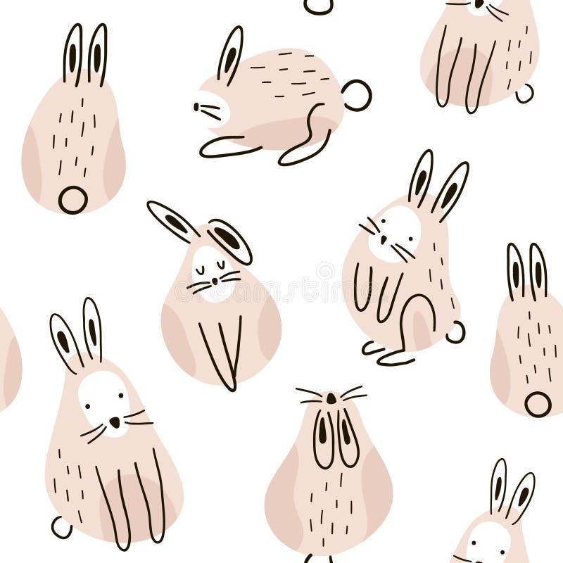 Nahtloses kindisches Muster mit netten Kaninchen Kreative Kinderbeschaffenheit für Gewebe, wickelnd, Gewebe, Tapete, Kleid ein Ve lizenzfreie abbildung
