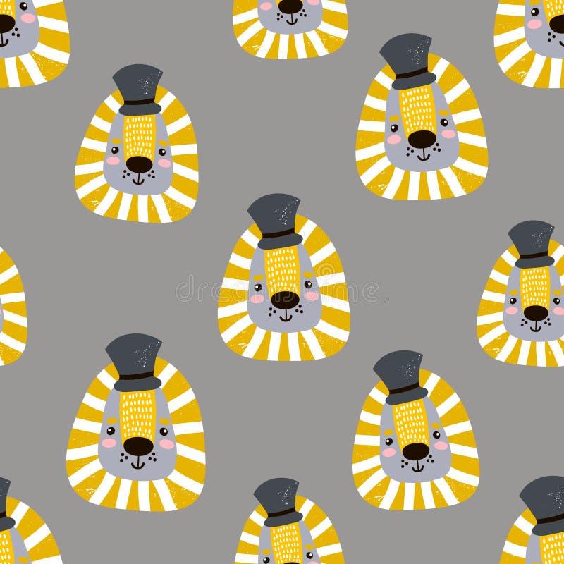 Nahtloses kindisches Muster mit netten Löwegesichtern Kreativer Kindertagesstättenhintergrund Vervollkommnen Sie für Kinder entwe vektor abbildung