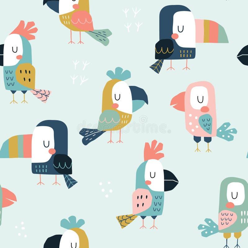 Nahtloses kindisches Muster mit netten Papageien und Tukanen Skandinavische Artkinderbeschaffenheit für Gewebe, wickelnd, Gewebe  lizenzfreie abbildung