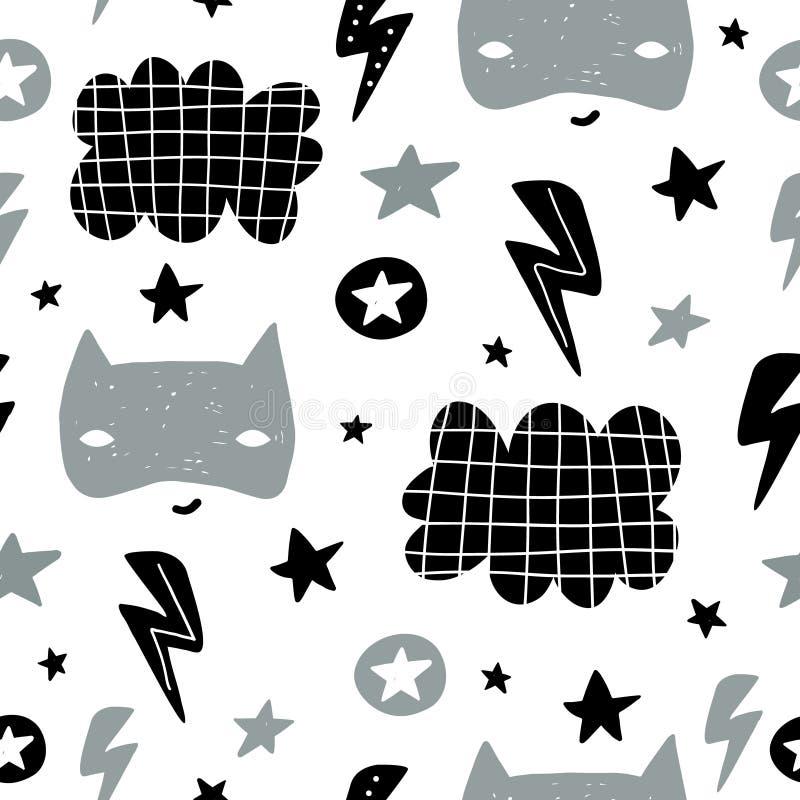 Nahtloses kindisches Muster mit netter Heldmaske, flas, Stern, Wolke Kreative Kinder masern für Gewebe und wickeln, Gewebe, Tapet vektor abbildung