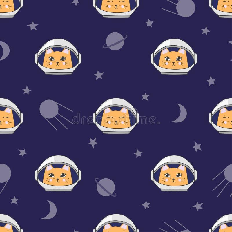 Nahtloses kindisches Raummuster mit netten Katzenastronauten lizenzfreie abbildung