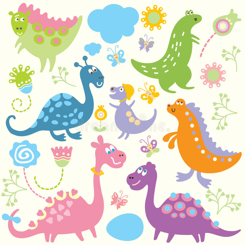 Download Nahtloses Kindliches Muster - Dinosaurier Vektor Abbildung - Illustration von karikatur, bunt: 9097920