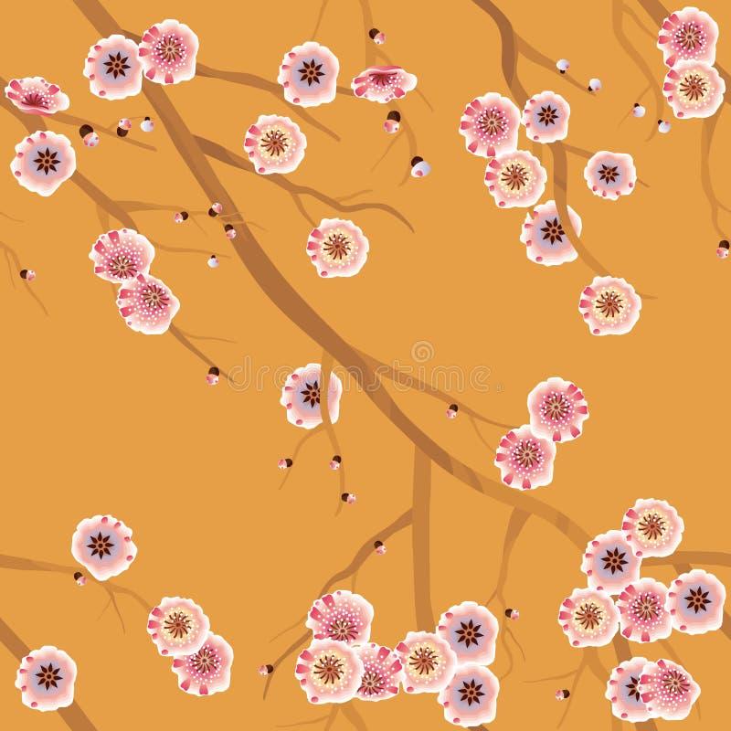 Nahtloses Kirschblütenmuster lizenzfreie abbildung