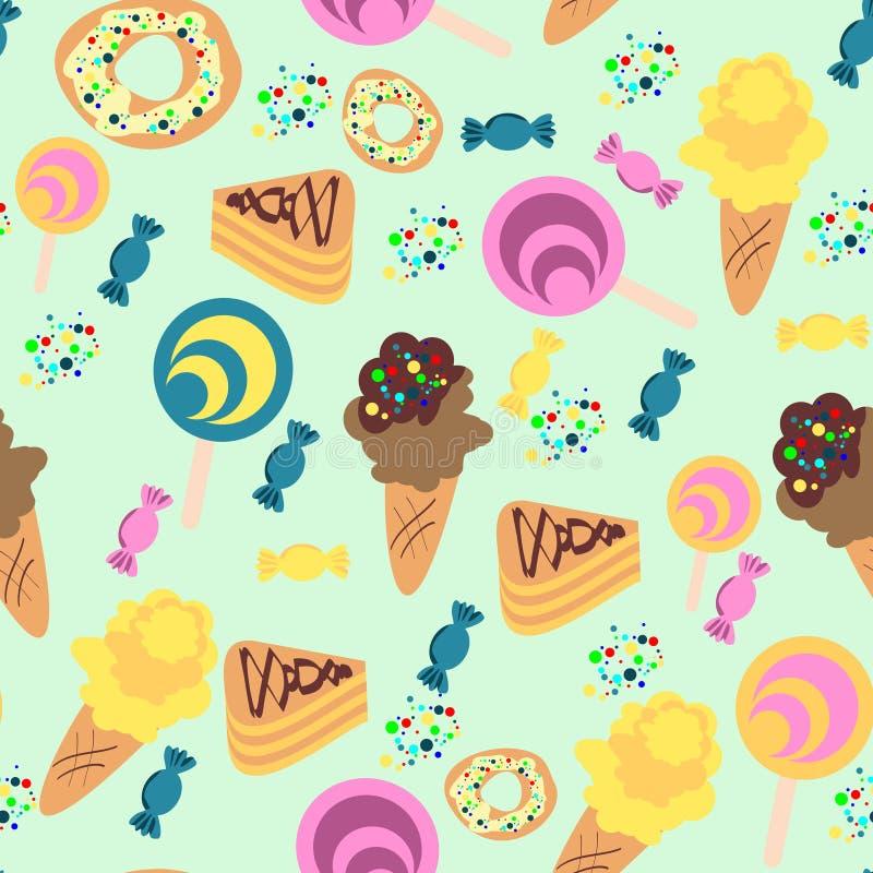 Nahtloses Konfektionsartikel-Muster Eiscreme, Süßigkeiten, Torten vektor abbildung