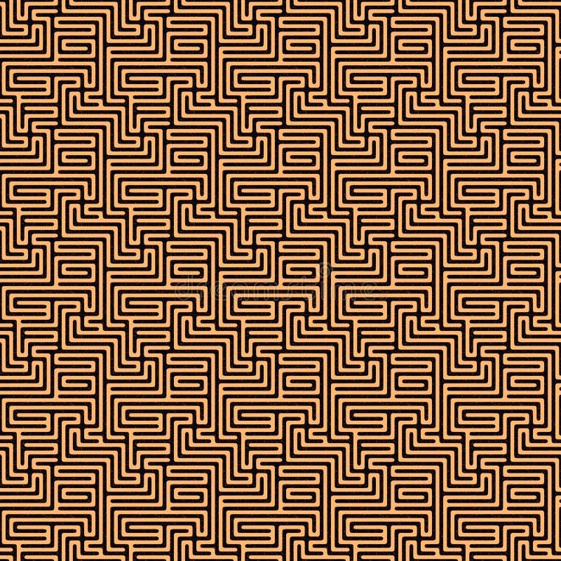 Nahtloses Labyrinth mit kupfernen Wegen lizenzfreie abbildung