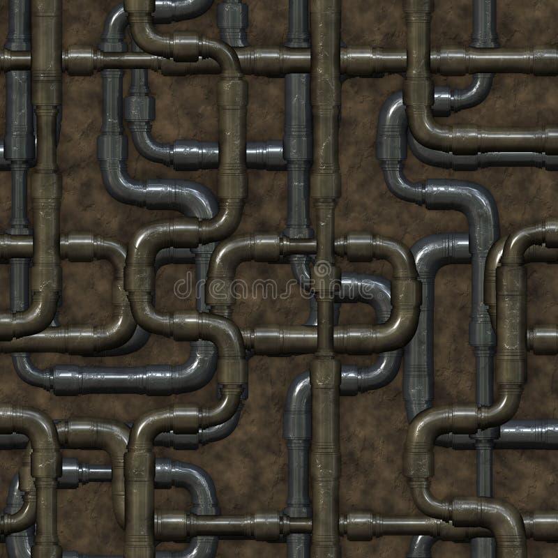 Nahtloses Labyrinth von Klempnerarbeitrohren. stock abbildung
