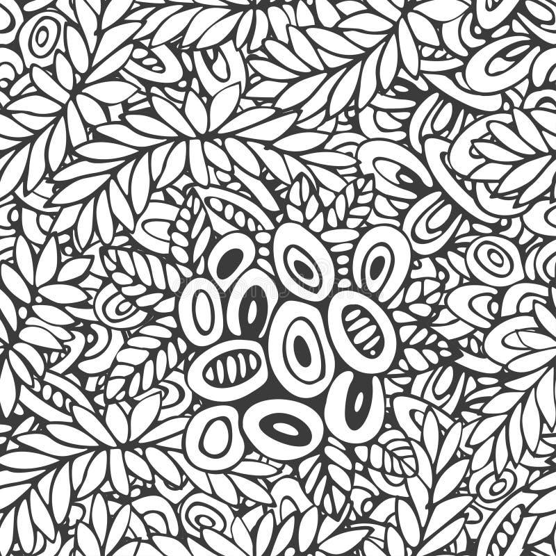 Nahtloses lineares Vektormuster - die stilisierte gezeichnete Schwarzweiss-Hand rundete Elemente und Blumen vektor abbildung