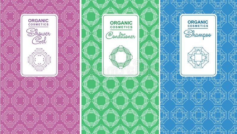 Nahtloses Logo mit Aufkleber für organische Kosmetik, Shampoo stock abbildung