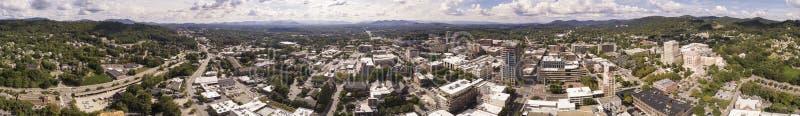 Nahtloses Luft-360-Grad-Panorama von im Stadtzentrum gelegenem Asheville, Norden lizenzfreies stockfoto