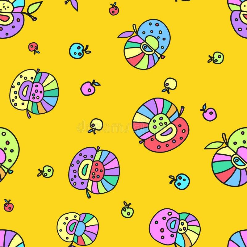 Nahtloses lustiges farbiges Muster von den stilisierten Äpfeln vektor abbildung