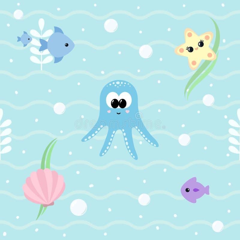 Nahtloses Marinemuster mit netten Babyseetieren Ozeanhintergrund mit lächelnder Babykrake, Starfish, Muschel, Fische, stock abbildung