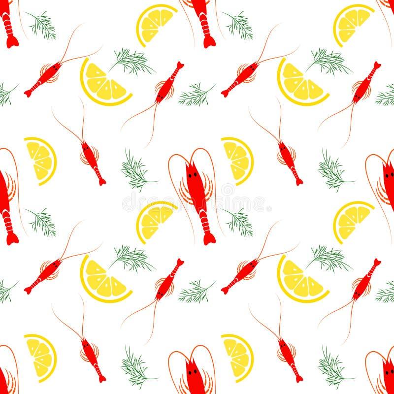 Nahtloses Meeresfrüchtemuster mit gekochter Garnele, Zitrone und Dill Garnelenlebensmittelhintergrund Groß für Meeresfrüchteresta stock abbildung